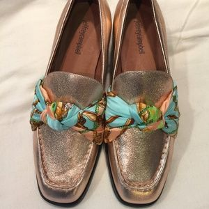 Jeffrey Campbell Bollero Scarf Rose Gold Loafers